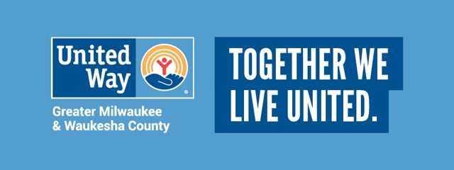 United Way logo with text together we live united on a blue background