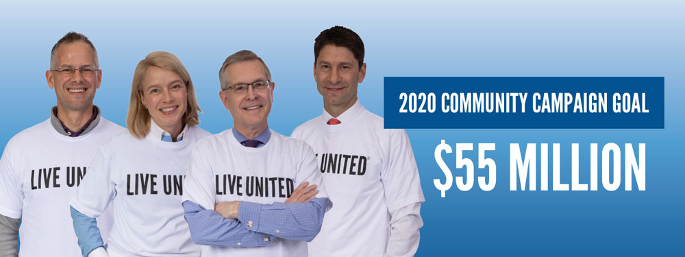 United Way co-chairs with 55 million dollar goal.